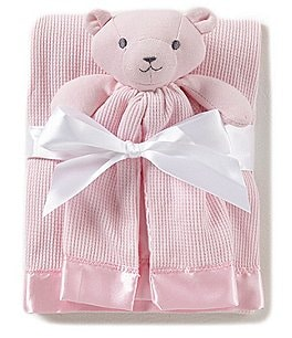 Image of Starting Out Baby Girls Satin Trim Blanket & Buddy
