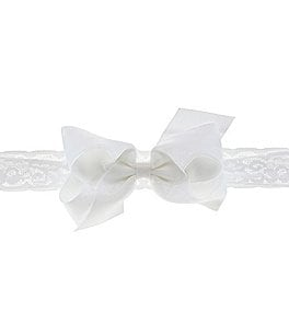 Image of Starting Out Medium Organza Overlay Bow & Lace Headband