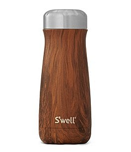 Image of S'well Wood Collection Teakwood Insulated Stainless Steel Traveler Bottle