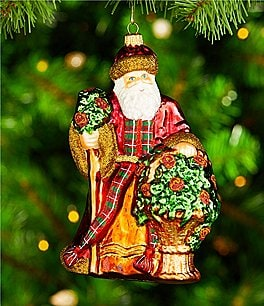 Image of Trimsetter Heritage Holiday Collection Plaid Santa Ornament