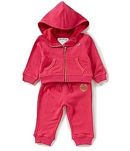 Image of True Religion Baby Girls 3-24 Months French Terry Zip-Front Hoodie & Matching Pant Set