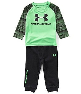 Image of Under Armour Baby Boys 12-24 Months Printed-Sleeve Logo Tee & Pants Set