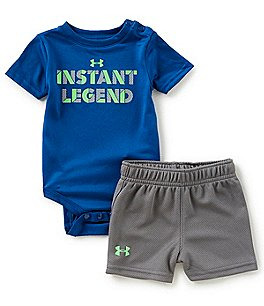 Image of Under Armour Baby Boys Newborn-12 Months Short-Sleeve Instant Legend Bodysuit & Shorts Set