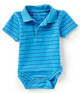 Image of Under Armour Baby Boys Newborn-12 Months Short-Sleeve Striped Polo Bodysuit