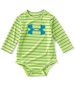 Image of Under Armour Baby Boys Newborn-24 Months Big Logo Striped Bodysuit
