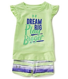 Image of Under Armour Baby Girls 12-24 Months Dream Big Flutter-Sleeve Top & Striped Shorts Set