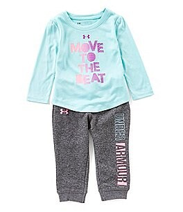 Image of Under Armour Baby Girls 12-24 Months Move To The Beat Long-Sleeve Tee & Pant Set