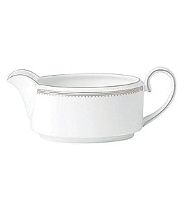 Image of Vera Wang by Wedgwood Grosgrain Striped & Dotted Bone China Gravy Boat or Stand