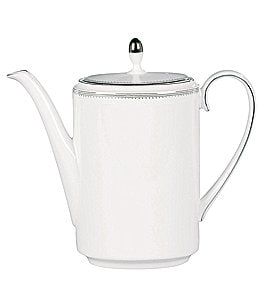 Image of Vera Wang by Wedgwood Grosgrain Striped & Dotted Platinum Bone China Coffeepot