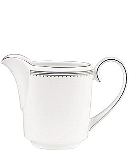 Image of Vera Wang by Wedgwood Grosgrain Striped & Dotted Platinum Bone China Creamer