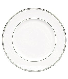 Image of Vera Wang by Wedgwood Grosgrain Striped & Dotted Platinum Bone China Dinner Plate
