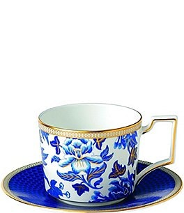 Image of Wedgwood Hibiscus Bone China Iconic Teacup & Saucer