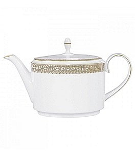 Image of Vera Wang by Wedgwood Vera Lace Gold Bone China Teapot