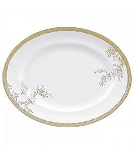 Image of Vera Wang by Wedgwood Vera Lace Gold China Oval Platter