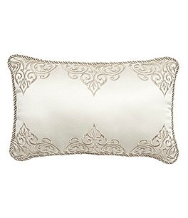 Image of Veratex Valenti Scroll-Embroidered Sateen Boudoir Pillow