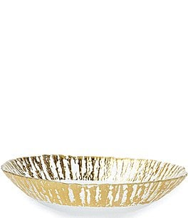 Image of Vietri Rufolo Glass Gold Medium Oval Serving Bowl