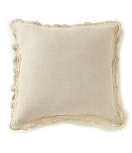 Image of Villa by Noble Excellence Crochet-Trimmed Linen Square Pillow