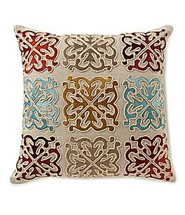 Image of Villa by Noble Excellence Medallion Tile-Embroidered Square Pillow