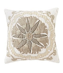 Image of Villa by Noble Excellence Natalie Medallion-Embroidered Square Pillow