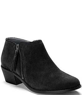 Image of Vionic Serena Water Resistant Suede Zipper with Tassel Pull Block Heel Ankle Boots