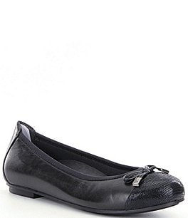 Image of Vionic Minna Snake Leather Cap-Toe Leather Flats