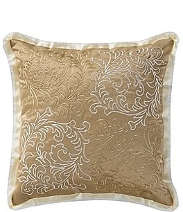 Image of Waterford Ansonia Ribbon-Trimmed Scroll-Embroidered Square Pillow