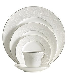 Image of Waterford Ballet Icing Pearl Piped Platinum China 5-Piece Place Setting