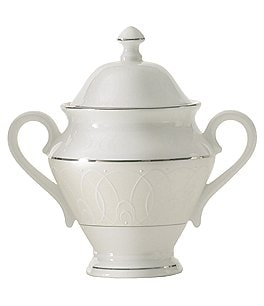 Image of Waterford Ballet Icing Pearl Platinum Bone China Sugar Bowl with Lid