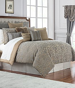 Image of Waterford Carrick Scroll Damask Jacquard & Chenille Comforter Set