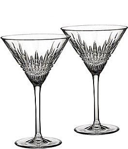 Image of Waterford Crystal Lismore Diamond Martini Glass Pair