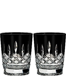 Image of Waterford Lismore Black Crystal Double Old Fashioned Pair