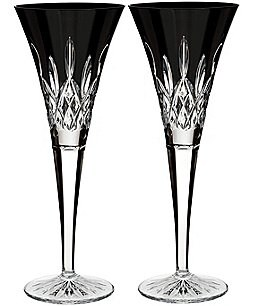Image of Waterford Lismore Black Crystal Flute Pair