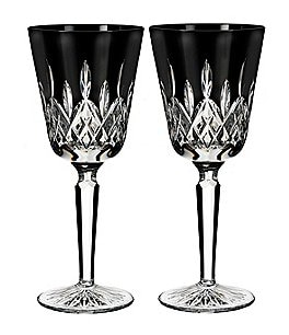 Image of Waterford Lismore Black Crystal Goblet Pair