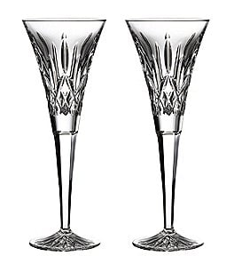 Image of Waterford Lismore Crystal Wedding Toast Flute Pair