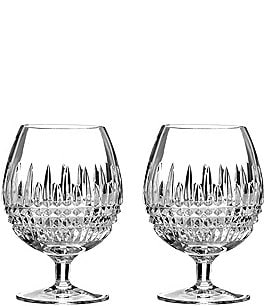 Image of Waterford Lismore Diamond Crystal Brandy Glass Pair