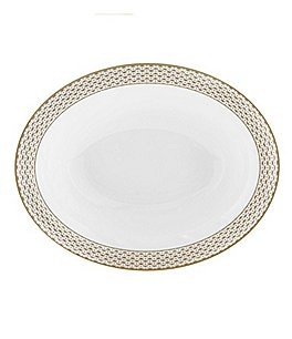 Image of Waterford Lismore Diamond Gold Open Vegetable Bowl