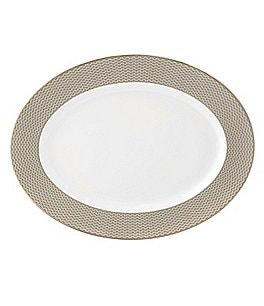 Image of Waterford Lismore Diamond Gold Oval Platter