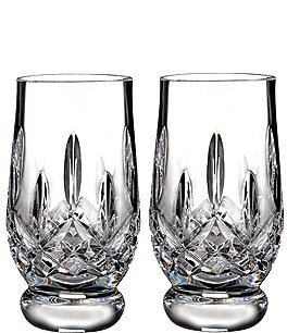 Image of Waterford Lismore Footed Crystal Tasting Tumbler Pair