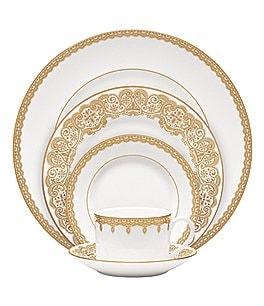 Image of Waterford Lismore Lace Gold Bone China 5-Piece Place Setting