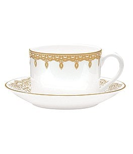 Image of Waterford Lismore Lace Gold Teacup and Saucer