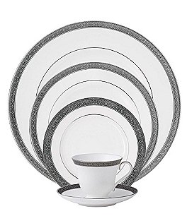 Image of Waterford Newgrange Platinum Celtic Scroll Bone China 5-Piece Place Setting