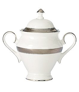 Image of Waterford Newgrange Platinum Celtic Scroll Bone China Sugar Bowl with Lid