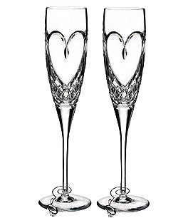 Image of Waterford True Love Heart Wedding Toast Flute Pair