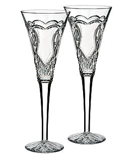 Image of Waterford Wedding Collection Heart-Etched Diamond-Cut Crystal Toasting Flute Pair