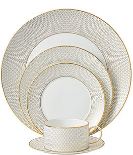 Image of Wedgwood Arris Geometric Bone China 5-Piece Place Setting