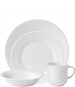 Image of Wedgwood Nantucket Basket Sculpted Bone China 4-Piece Place Setting