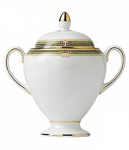 Image of Wedgwood Oberon Vine & Flora Gold Bone China Sugar Bowl with Lid