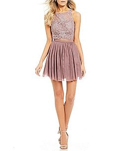Image of Xtraordinary Glitter Lace with Tulle Skirt Two-Piece Dress
