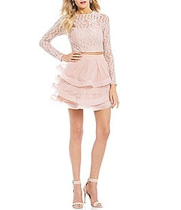 Image of Xtraordinary Long Sleeve Lace Top Two-Piece Dress