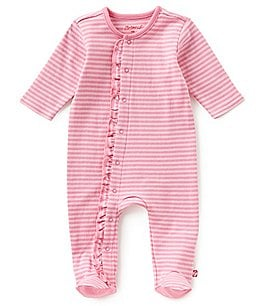 Image of Zutano Baby Girls Newborn-6 Months Striped Ruffle Footed Coverall
